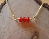 Glass Crystal Bead Bracelet in Red and Gold, Brass