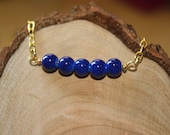 SALE Glass Round Bead Bracelet in Cobalt Blue and Gold, Brass
