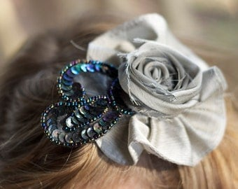 silver wedding flower hair piece vintage upcycled beaded black sequined lace photo prop hair clip fabric flower girl handmade bridesmaid