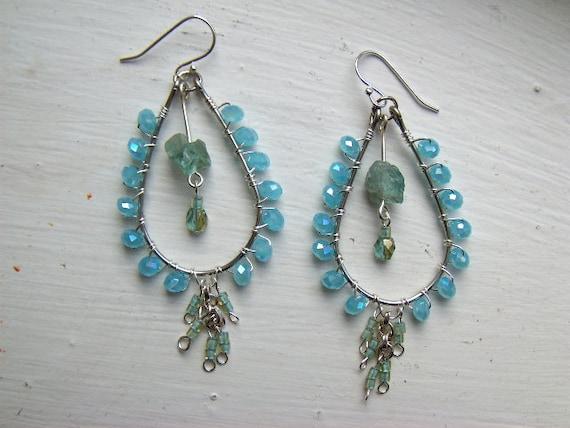 Teardrop chandelier earrings with blue-green Apatite nuggets