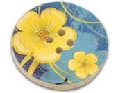 10 Buttercup Flower 4 Hole Wood Buttons, little over an 1 inch