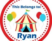 Personalized Name Stickers - Red Big Top Tent and Ballons Carnival Circus Name Label Stickers - 2in Round Tags - Back to School Name Tags