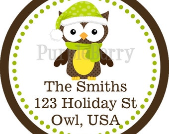 Winter Address Labels - Green and Brown Winter Woodland Creature Owl Personalized Address Label Stickers - 20 Holiday Address Stickers