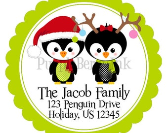Holiday Address Labels - Lime Green and Red Winter Penguin Couple Personalized Address Label Stickers - 20 Christmas Address Stickers