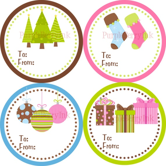 Items similar to holiday gift tag stickers pink blue green christmas trees ornaments and stockings gift tags 20 round christmas labels on etsy
