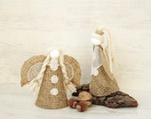 Angels Hand made from Burlap lace and wool yarn