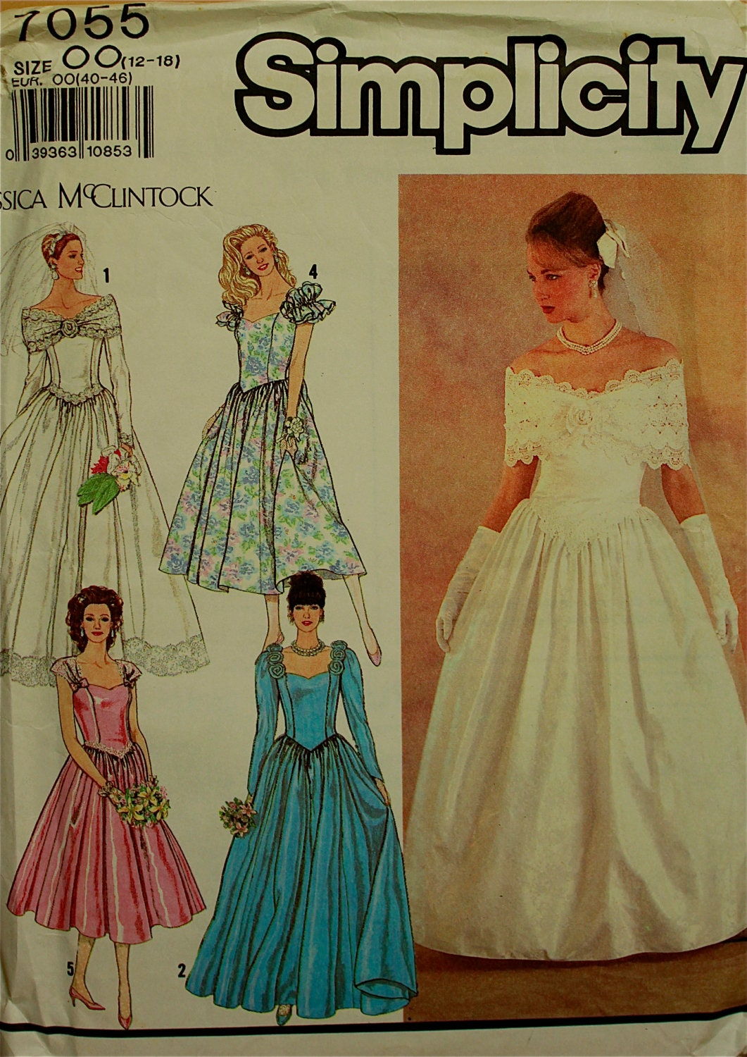1990s Evening or Bridal Dress by Jessica McClintock Simplicity