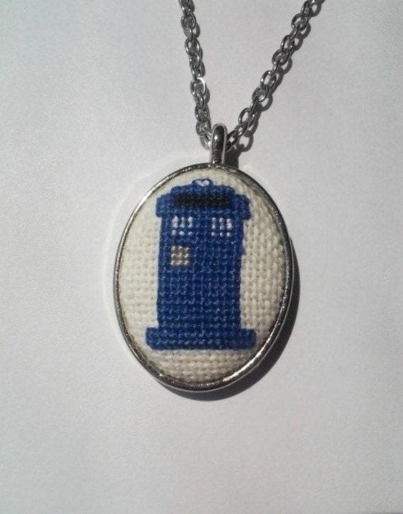 TARDIS cross stitch necklace