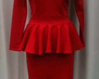 Baylis & Knight Red Ponte PEPLUM  Long Sleeve Low Cut Wiggle Hobble Knee Dress Dita Burlesque Pin Up
