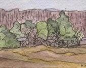 "Maine Landscape Painting Small Original Plein Air Watercolor Pen and Ink ""Gilsland Audubon Farm"" Plein Air Aceo Art Artist Trading Card"