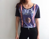 Galaxy Space Univers Out Of  Planet Pop Rock Crop T Shirt M