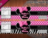 """MINNIE MOUSE  Set of 2 Water Bottle Labels - Zebra Minnie Mouse, Baby Minnie Mouse, Minnie Mouse Ears  """"Best Seller Special"""""""