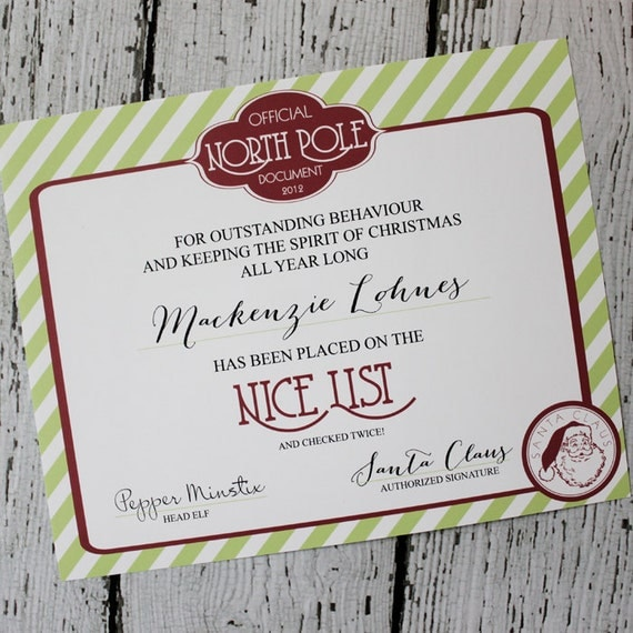 North Pole Printable NICE LIST Certificate from Santa : Printable Party Designs by The Paper Doll