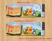 Winnie the Pooh Birthday Invitation.Ticket Style, Digital (Print-it-yourself)