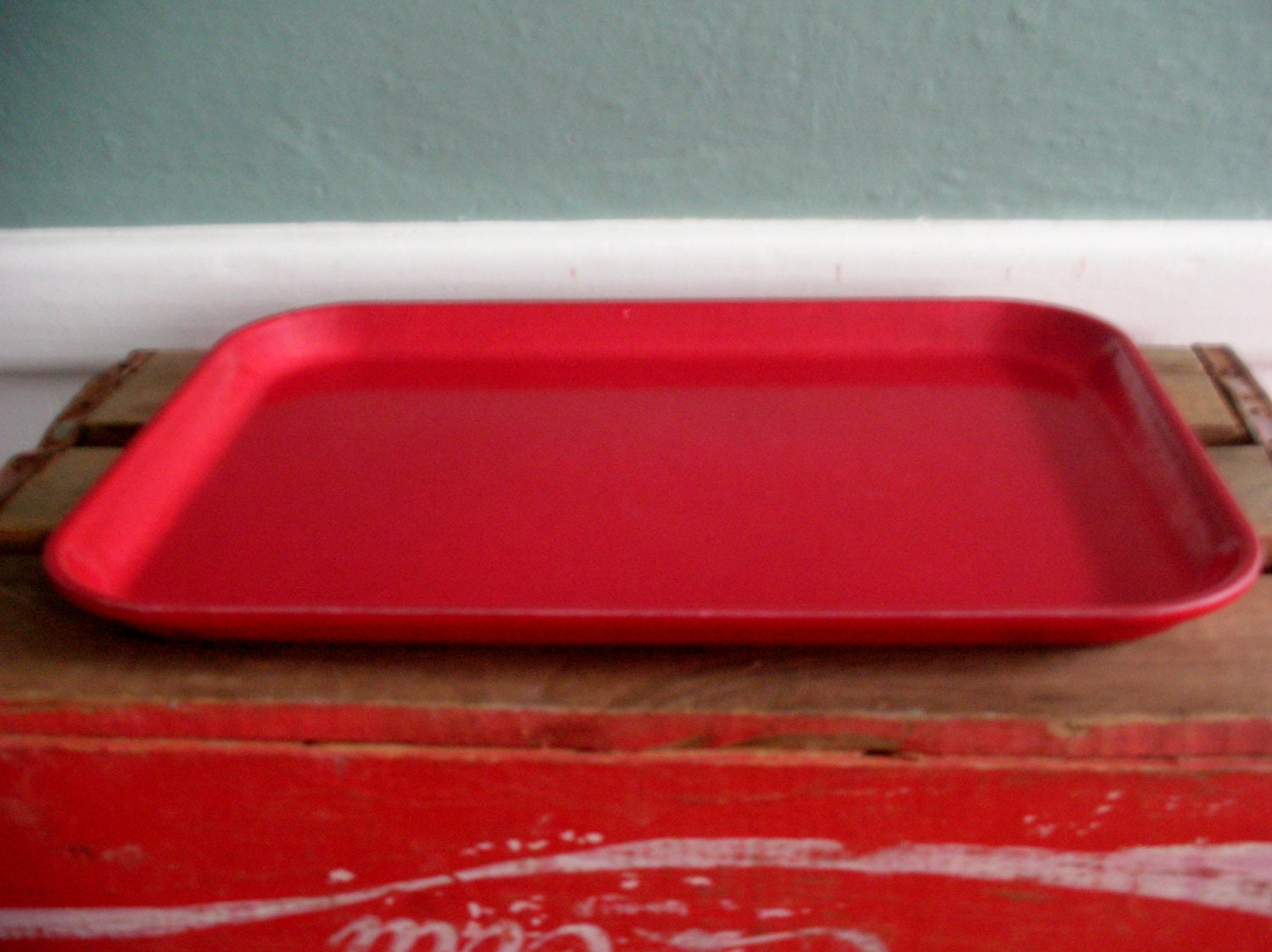 Red kitchen tray or school lunch tray by cocobearshoneyhole