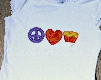 Personalized Halloween Peace, Love, Candy Applique T-Shirt Bodysuit
