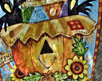 HAPPY FALL To All - Wall Art Quilt of JacK-O-Lantern and Crows & SunFlowers Home Cabin RV Country Decor Gift