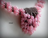 Beaded pink grey necklace and bracelet, unique shape,OOAK