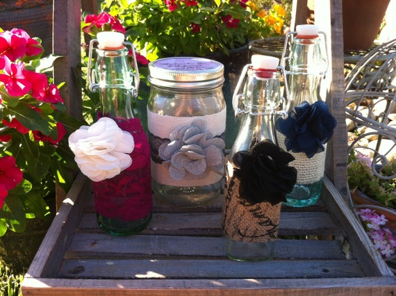 Rustic Chic Jars/Bottles.Wedding Sand Ceremony Bottles With Lace, Burlap, Twine : Group of 4. Vintage Wedding Decor, Farm House Decor