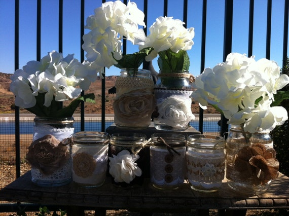 BURLAP LACE MASON Jars for Wedding and Cottage Decor : Rustic Farm House and Shabby chic/Vintage style decorations