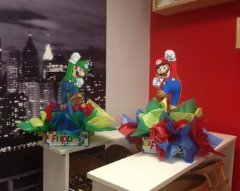 "DIY 12"" Small Mario and Luigi  Birthday Party Centerpieces FREE KIT 1st Birthday Mitzvah Baby Shower Centerpiece"