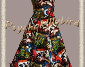 50s Rockabilly/Psychobilly Couture Pinup Horror Zombie Halloween Full Circle Swing Dress