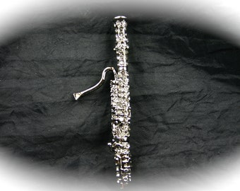 Bassoon Crystal Pin or Bassoon Musical Instrument Pin Music Jewelry