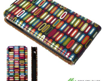 """Artist Designed - iPhone 4/4s  flip case / cover - High quality unique & colorful leather style flip case  - """"Stack"""""""
