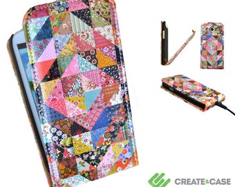 "Samsung Galaxy S3 artist designed flip case / cover - Unique & colorful leather style flip case  ""Grandma's Quilt"" quilted patchwork"