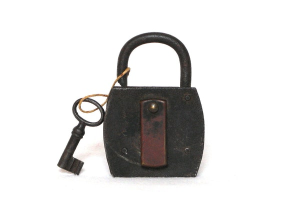 Antique French metal padlock with key, still functional... and full-of-charm
