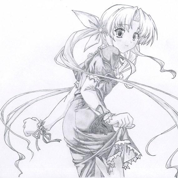 Artículos similares a Anime. Manga, Ilustración, dibujo a lápiz de Kawaii por Cliff Sperandeo en Etsy