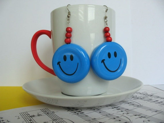 Blue Smiley Earrings