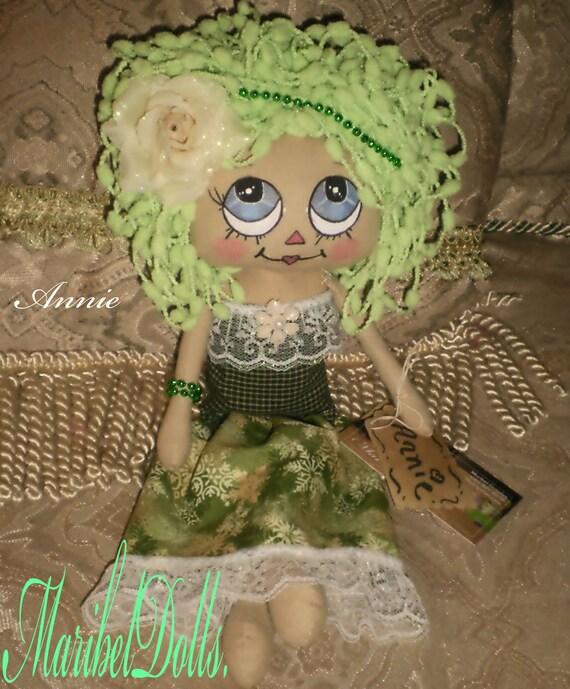 Cloth Art Rag Doll Annie Raggedy .