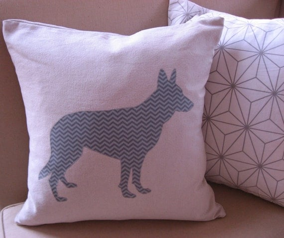 Modern German Shepherd Fabric Silhouette Pillow Cover Flax Beige & Tonal Gray Chevron 20x20