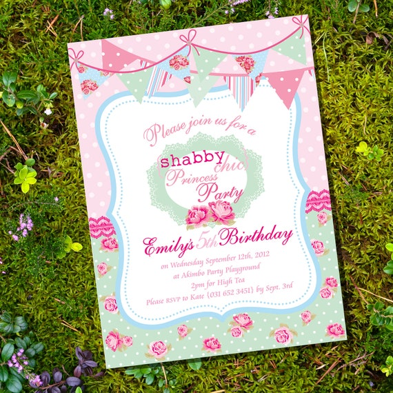Shabby Chic Princess Party - Invitation Only - Instantly Downloadable and Editable File - Personalize at home with Adobe Reader