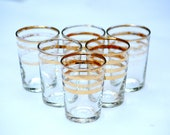 Vintage Shot Glasses set of 6 Retro Mid Century modern Gold Rings Design Autumn Colours