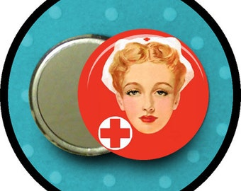 "NURSE 2.25 inch pocket MIRROR, button or magnet 2 1/4"" size"