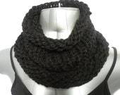 Black Cowl, Knitted Black Neck Warmer