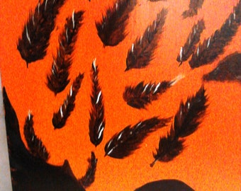Original Acrylic painting raven shedding feathers Changing Winds 22X11