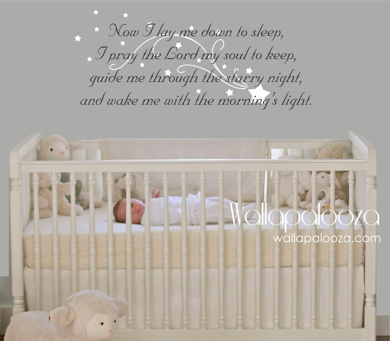 Now I Lay Me Down To Sleep Wall Decal Prayer Wall Decal - Wall decals baby room