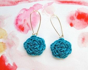 Peony Ruffle Earrings-Teal Blue