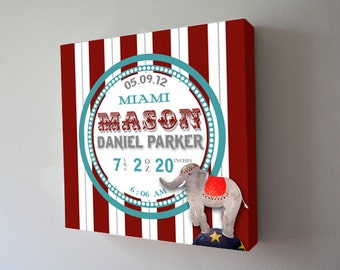 Baby Birth Announcement ,Boys Nursery Canvas Art , Personalized Circus Elephant Wall Hanging