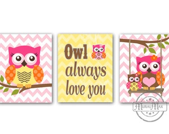 Owls Nursery Art  -  Nursery art Set of 3 - 8X10  Prints - owls -  Pink  and Aqua Nursery Print - Owl Decor for Girl Room