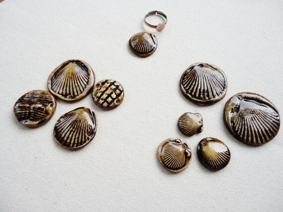 10 piece value set Yellow and Chocolate Brown Ceramic Pendant, Connector, Charm Sea Shell Beach Theme, Necklace, Jewelry Making Supply