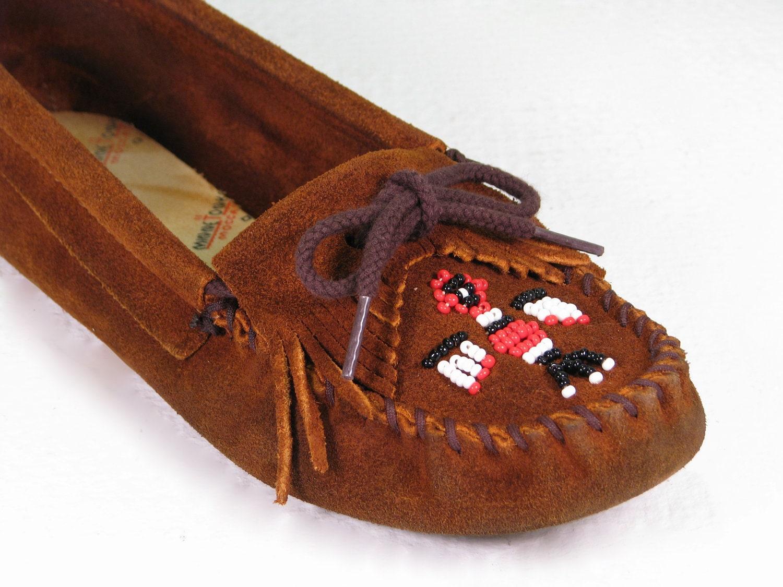 vintage minnetonka moccasins beaded thunderbird loafers