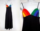 Vintage Carol Paulson for RAINBOW of CALIFORNIA Spaghetti Strap Maxi Dress Black XS/S