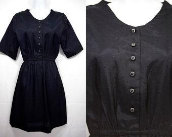 Vintage 80's Short Sleeve Black Silky Polyester Dress Dot Pattern S