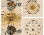SET of Moon Sun and Earth, Astronomy Print  Poster, Vintage Image, wall decor, 8x10, A4