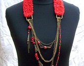Handmade jewelry, necklace made on knitting yarn , natural coral, Howlite, chains, unique, OOAK, art jewelry - boele
