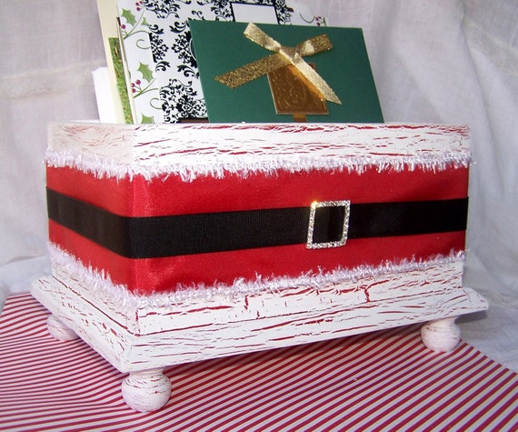 Christmas Card Holder Shabby Chic Christmas Card Box Santa